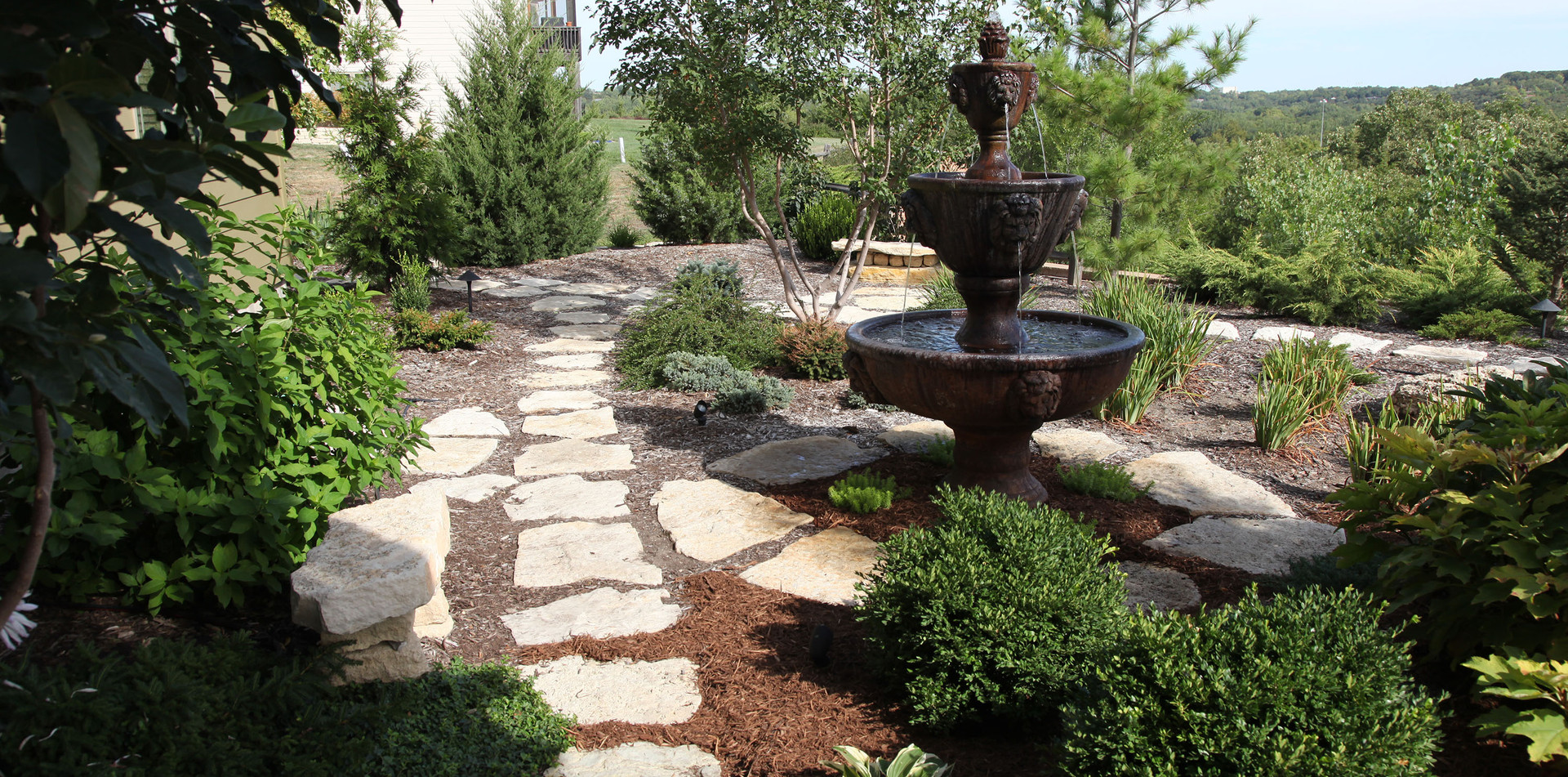 Backyard Fountain and Pathway, Master Landscape, Inc.
