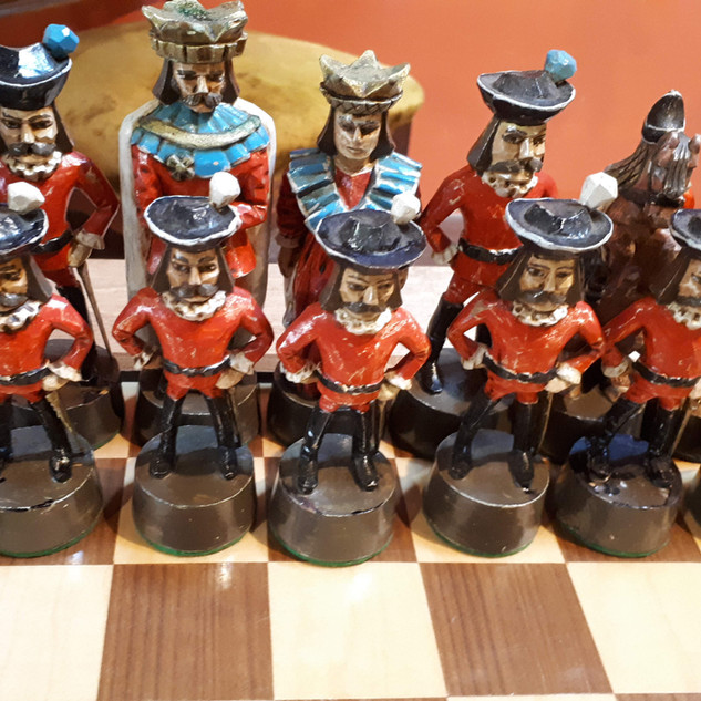 Hand Carved Wood Chess Set Details