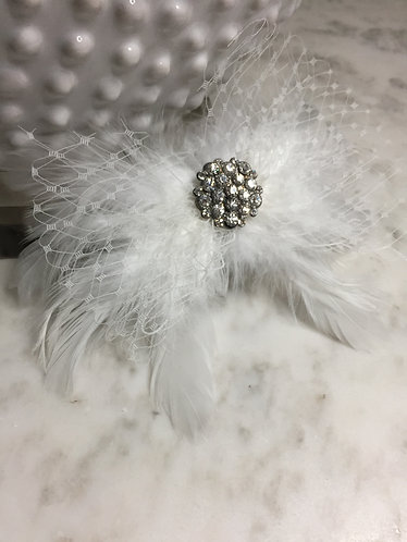 Handmade Feather and Cage Hair Pin