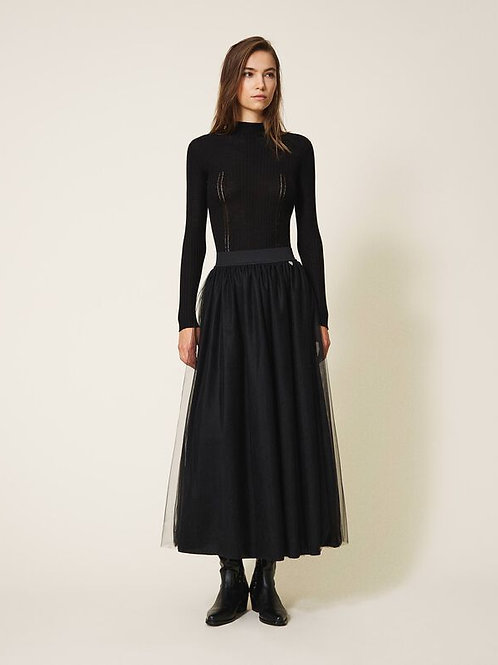 202TP239A - WOVEN SKIRT- NERO