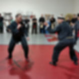 adult kung fu students sparring while others observe