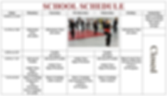 Weekly calendar of kung fu classes with image of students doing kung fu posein dojo