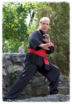 Man in Kung Fu pose on large rock