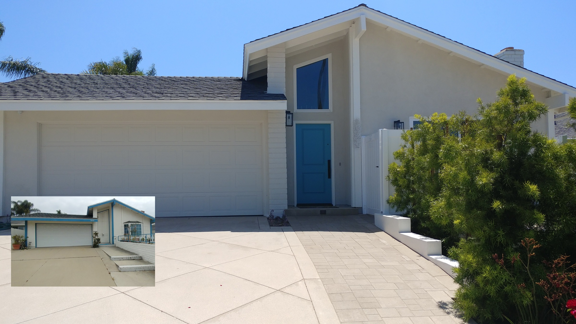 Whole-house remodel included a refreshed entry, entry window, driveway, and front patio.