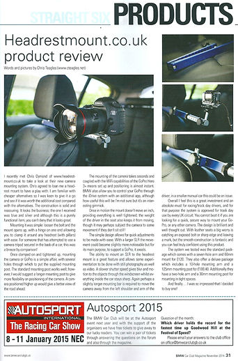 BMW Car Club GB Straight six magazine Headrest mount in car camera mount review