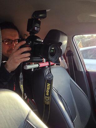 Headrest mount in car camera mount on test using DSLR