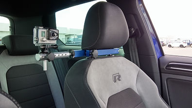 Headrest mount in car camera mount fitted to VW Golf R Mk7 Gen2