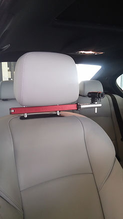 Headrest mount in car camera mount fitted to BMW M5