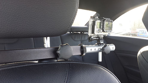 Headrest mount in car camera mount fitted to BMW M3