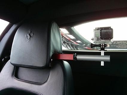 Headrest mount in car camera mount fitted to Ferrari F430