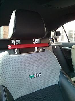 Headrest mount in car camera mount fitted to Skoda Octavia VRS