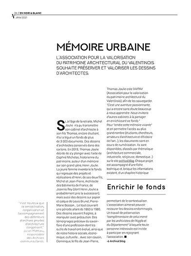 Le V - Mémoire Urbaine AVPAV - Janvier 2021