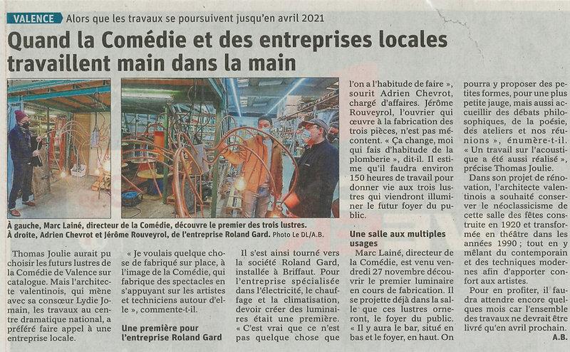 Dauphiné Libéré 2020 12 02 - Article Lus