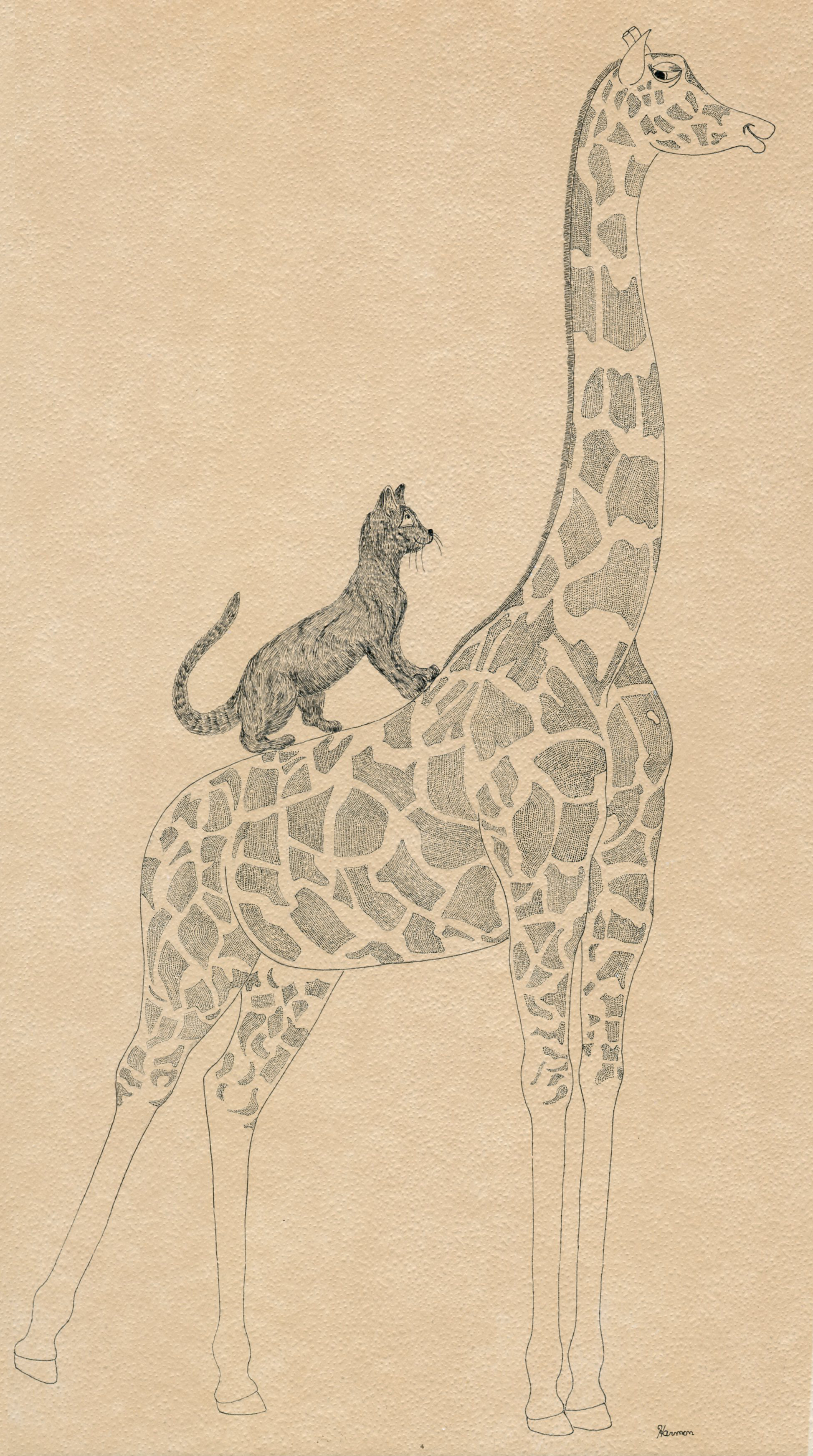 GIRAFFE AND CAT