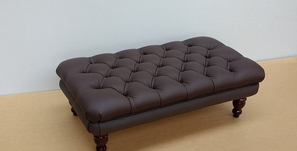 Large leather Chesterfield Footstool