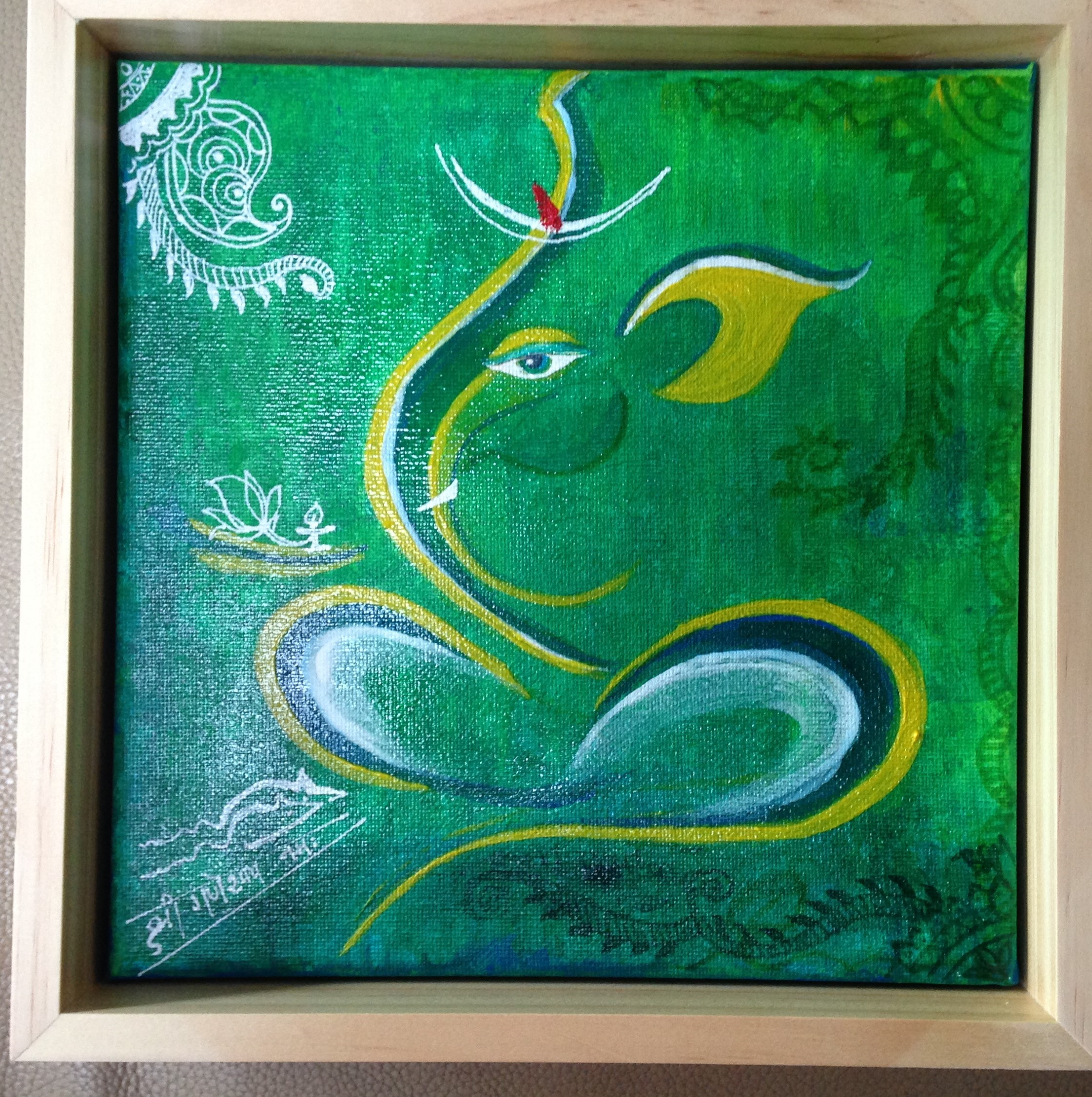Green Ganesh - Held in a private collect