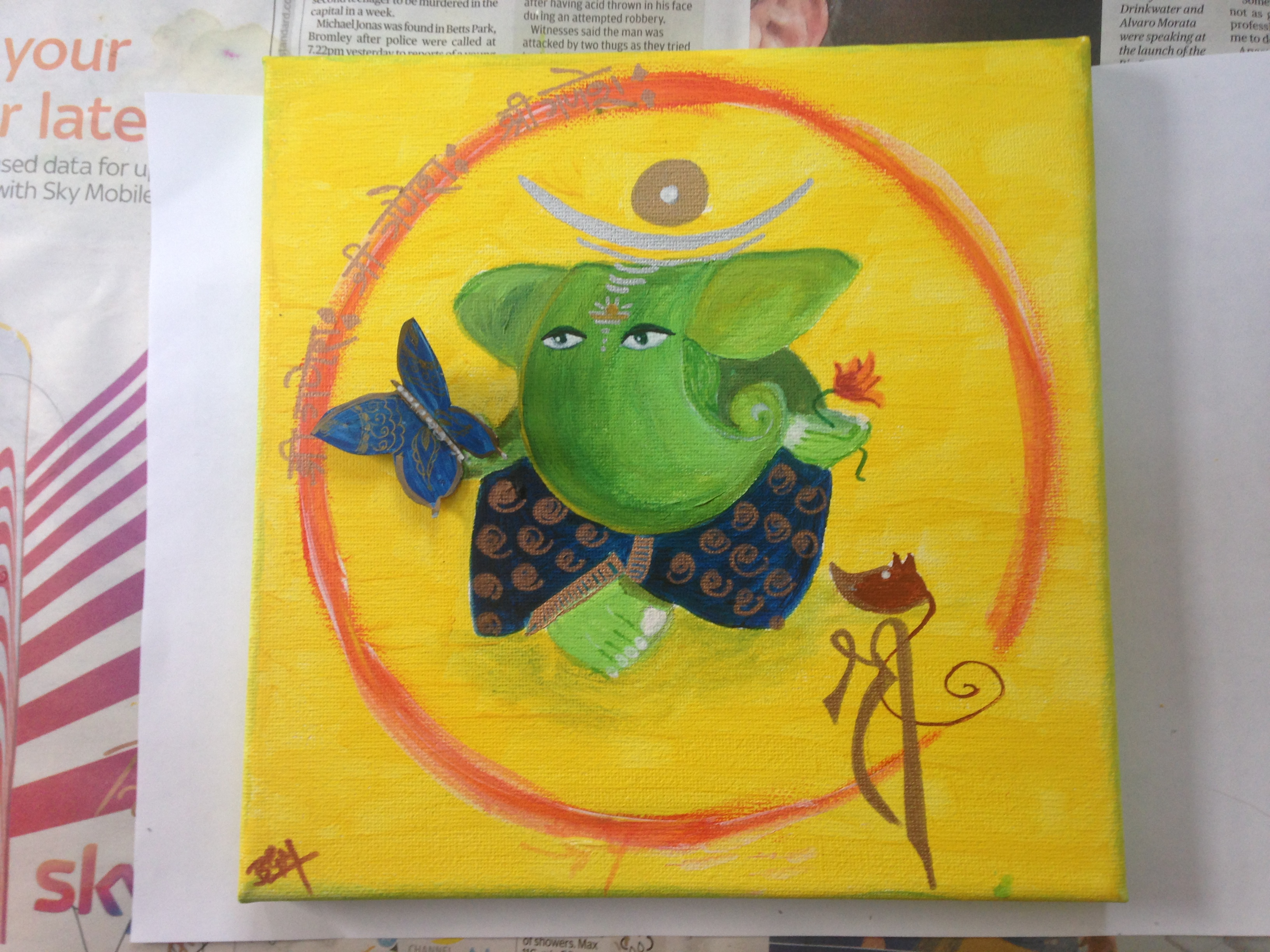 Ganesh with butterfly - Sold