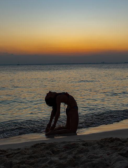 beach yoga, camel pose, silhouette photography
