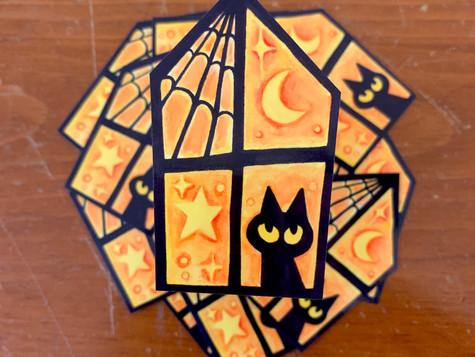 Cat Halloween Sticker Gouache 2020
