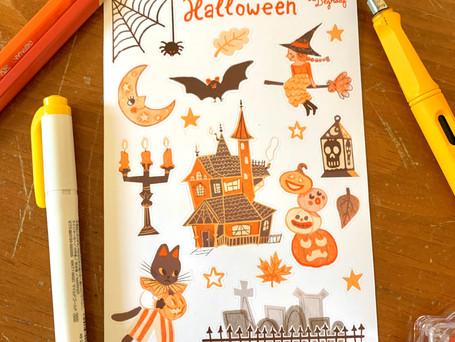 Halloween Sticker sheet Digital 2020