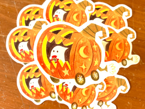 Pumpkin Halloween Sticker Watercolour and watercolour pencil 2020