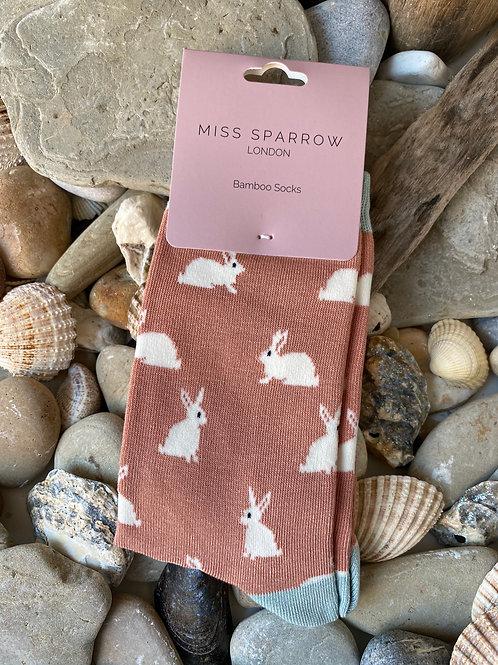 Dusky Pink Rabbits Socks