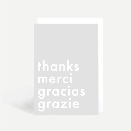 'Thanks Merci Gracias Grazie' Card