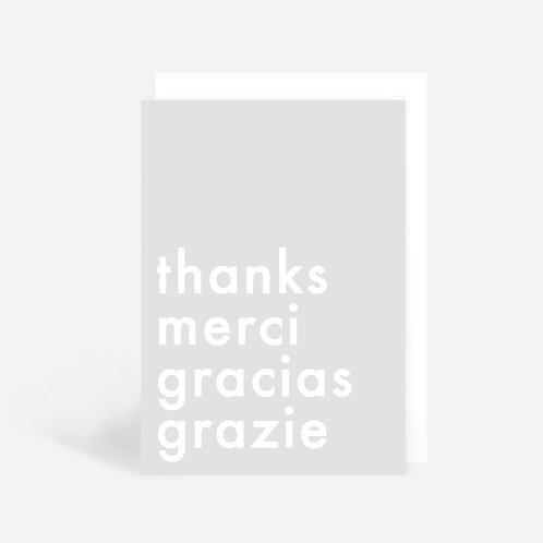 'Thanks Merci Gracias Grazie' Card