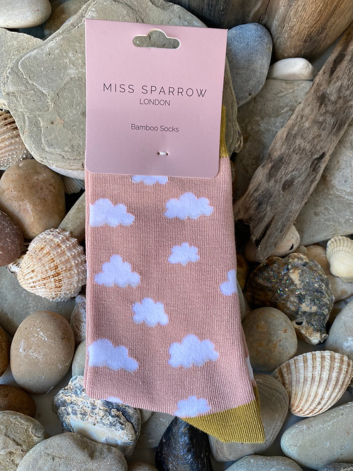Dusky Pink Clouds Socks