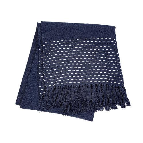 Stitched Navy Blanket Throw