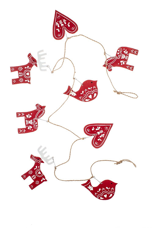 Nordic Christmas Garland - Red