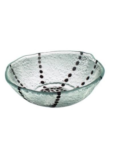 Black Dotty Lines Glass Bowl