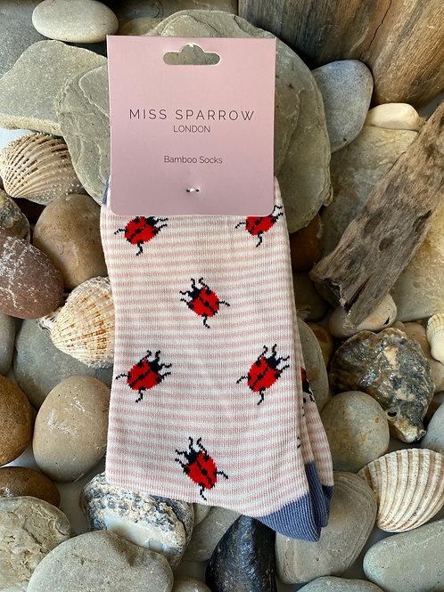Dusky Pink Ladybirds Socks