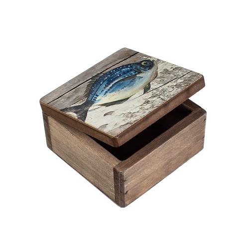Small Wooden Storage Box - Fish Design