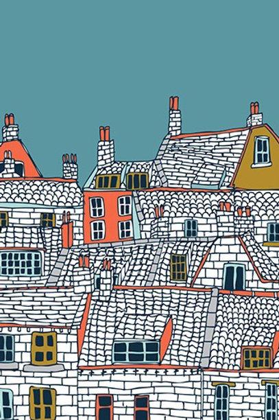 Over the Rooftops Greetings Card