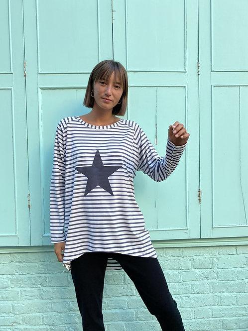 Chalk Robyn Top - Charcoal Stripe