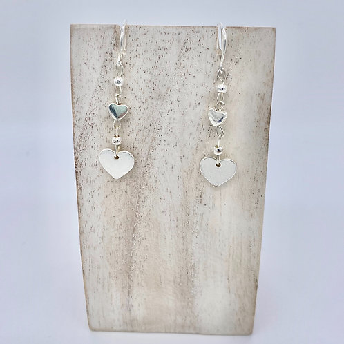 Silver Plated Heart Drop Earrings