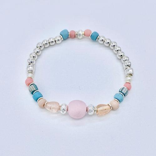 Elasticated Pink Bead Bracelet