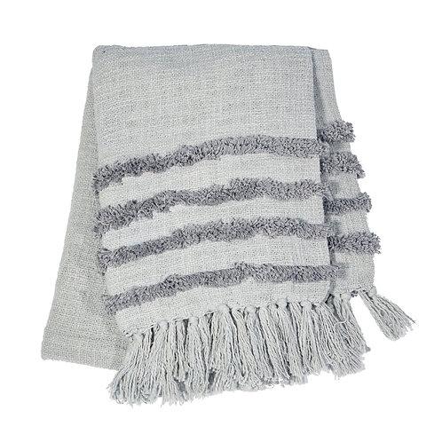 Grey Tufted Blanket Throw