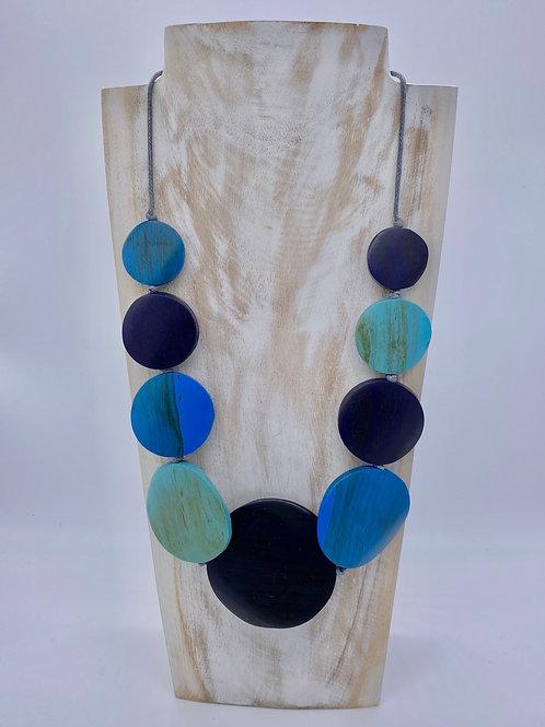 Graduated Disc Necklace - Blue