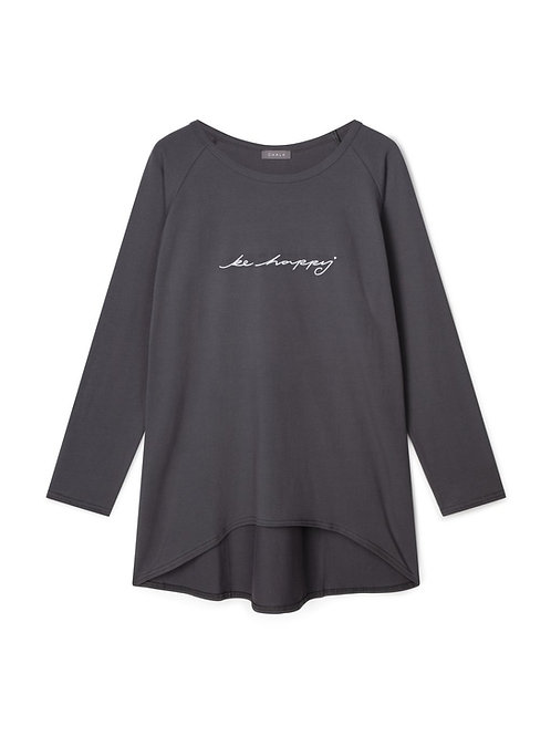 Chalk Robyn Top - Charcoal/Be Happy