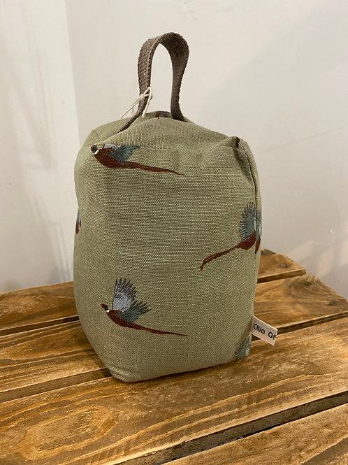 Handmade Fabric Door Stop - Pheasants
