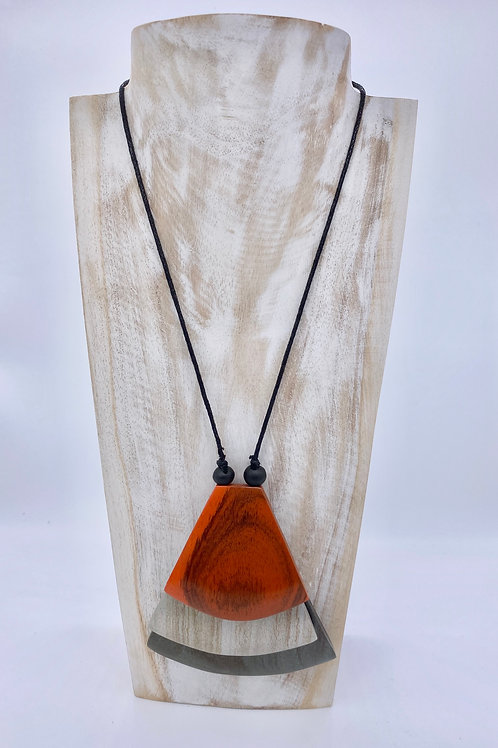 Fan Pendant Necklace - Orange