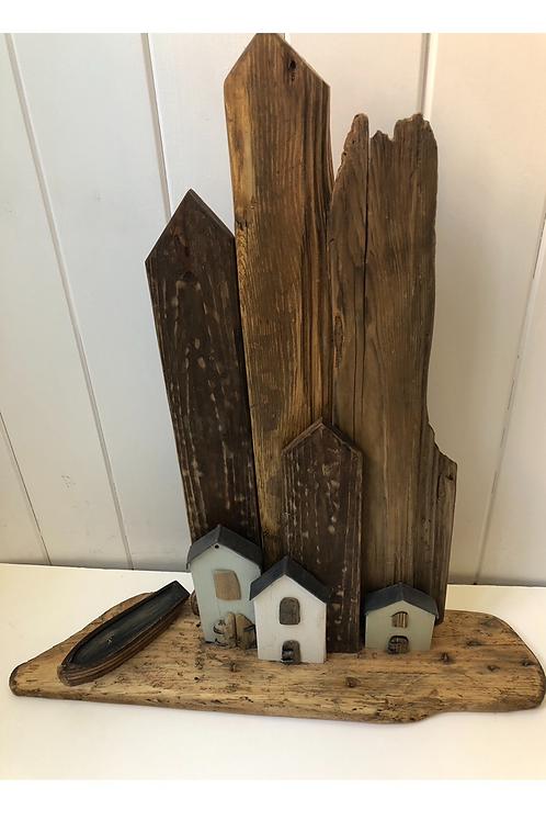 Driftwood Coastal House Scene