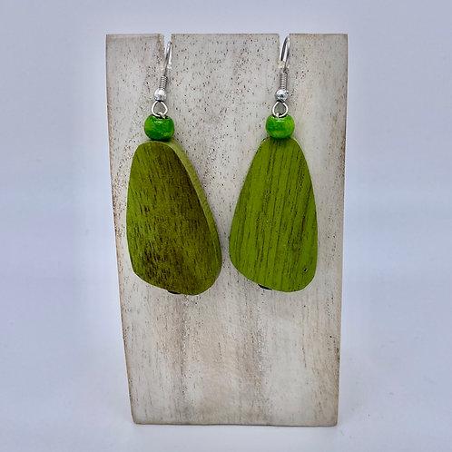 Wooden Pebble Earrings - Lime Green