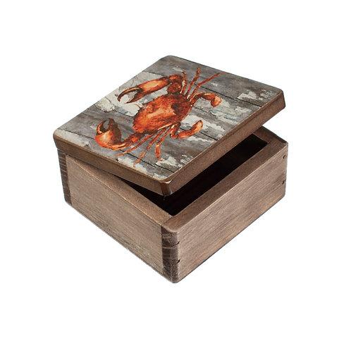 Small Wooden Storage Box - Crab Design