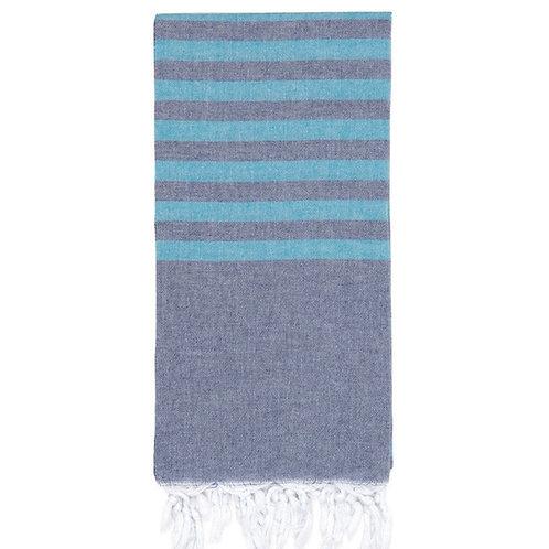 Lightweight Hamam Towel - Navy/Turquoise