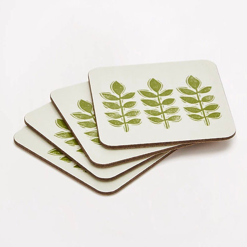 Sam Wilson Set of 4 Coasters - Green Leaf