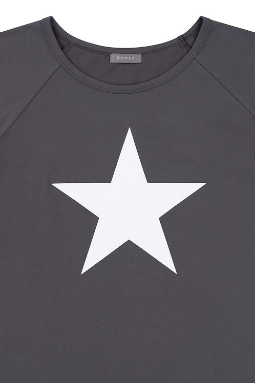 Chalk Darcey Top - Charcoal/White Star