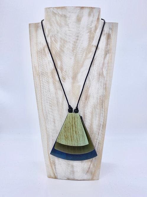 Fan Pendant Necklace - Blue